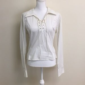 GUESS Jeans white pinstripe top
